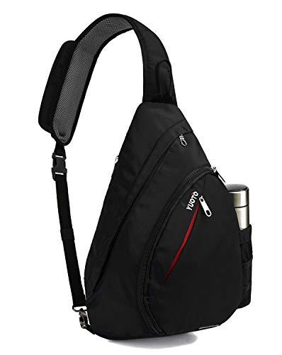 YUOTO Sling Bag, Crossbody Backpack Canvas Daypack One Strap Shoulder Bag Traveling Men Women Black