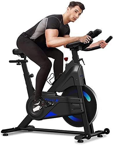 Dripex Bicicleta estática de resistencia magnética (nueva versión 2021), capacidad 330 libras, monitor LCD, sensor de pulso, soporte para botella, bicicleta estática para gimnasio en casa (Azul)
