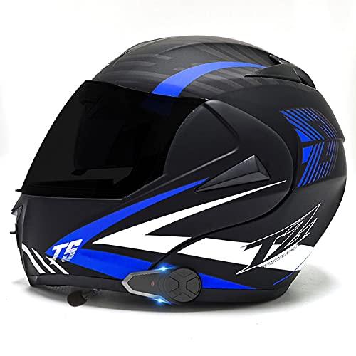 Casco de Moto Modular Bluetooth Integrado Hombres Mujeres,Casco Moto Integral con un Micrófono Incorporado Anti Niebla Visera Doble ECE/Dot Homologado (Color:B,Size:L=59-60CM)
