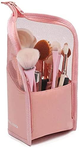 Estuche Cosmético con Cremallera, Brochas de Maquillaje Bolsa, Organizador Brochas Viaje, para Mujeres Niñas Estuche Organizador de Pinceles de Maquillaje de Viaje Portátil (Rosa)