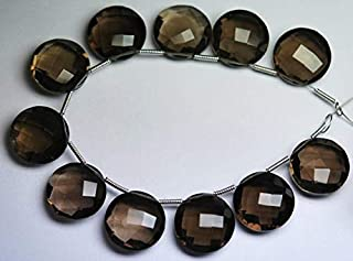 Jewel Beads Natural Beautiful jewellery 3 Matched Pair,AAA,Super Finest SMOKY QUARTZ Faceted Coins Shape Briolettes,14mm sizeCode:- JBB-29177