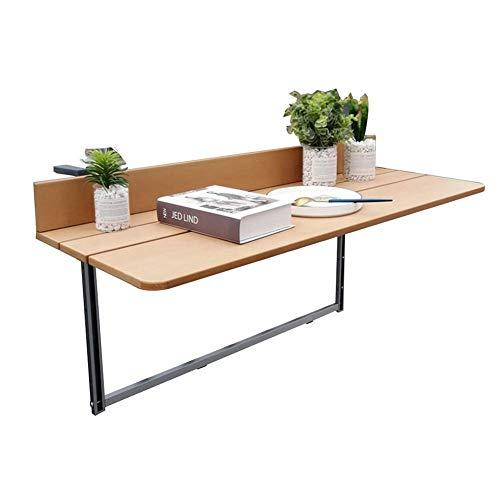 YZjk Laptop Tisch Balkon Hängetisch Outdoor Lernen Schreibtisch Faltbarer Blumenständer, einfach zu montieren (Farbe: Holzfarbe, Größe: 80x37CM)