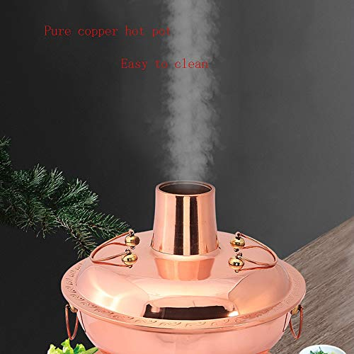 41cGOEl7eiL - Lamyanran Fondue-Fritteusen Multi-Funktions-Old Beijing Chinese Große Kupfer Traditionelle Holzkohle Hot Pot, Dual-Use-Elektro Charcoal Hot Pot mit Fernbedienung (Size : 32cm)