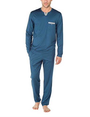 CALIDA Herren Pyjama Paddington Zweiteiliger Schlafanzug, Blau (Nimes Blue 487),...