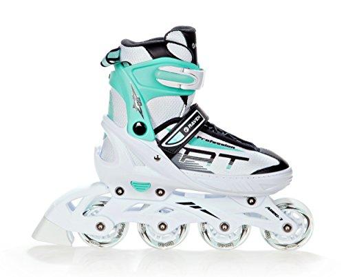RAVEN Inline Skates Inliner Profession verstellbar (White/Mint, 31-35(20,5cm-22,5cm))