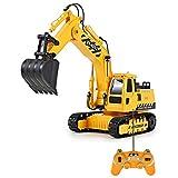 Juguete Construcción Excavadora, Camión RC Pala 11 Canales 1:20 Transmisor Fácil Control Luces Acústicas 2,4 GHz