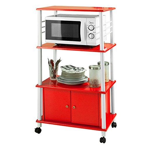 SoBuy mensola per forno a microonde, Carrello da cucina, armadietto cucina, rosso,FRG12-R,IT