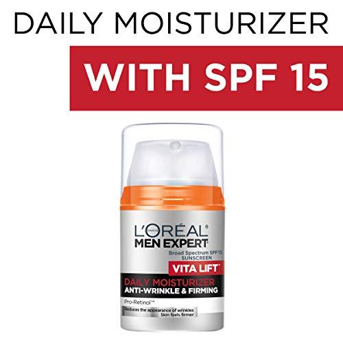 Face Moisturizer for Men, Lightweight Daily Face Lotion for men, L'Oreal Paris Skincare Men Expert Vitalift Anti-Wrinkle