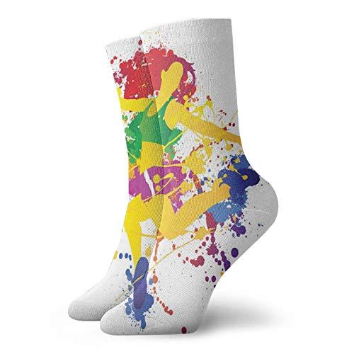 Calcetines cortos de longitud de becerro suaves de pelo rojo, para niña, efecto salpicadero, colores de arco iris, diseño salpicado, calcetines para mujeres y hombres, mejor para correr