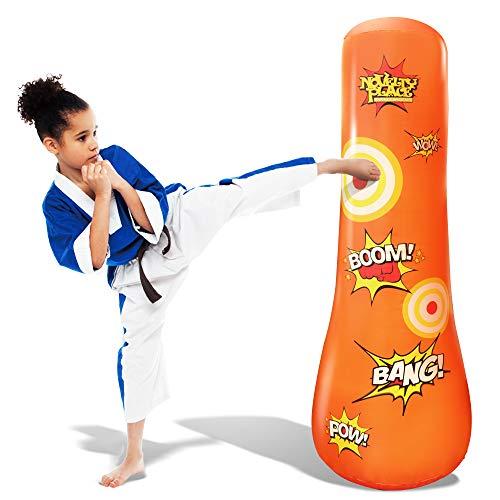 Neuheit Platz Kid's aufblasbarer Boxsack - 4 Fuß hoch Freistehender Socker Bopper Buddy - Hit & Bounce Back Air Bop Spielzeug Spaß für alle Altersgruppen Jungen Mädchen Kinder Fitness & Stressabbau