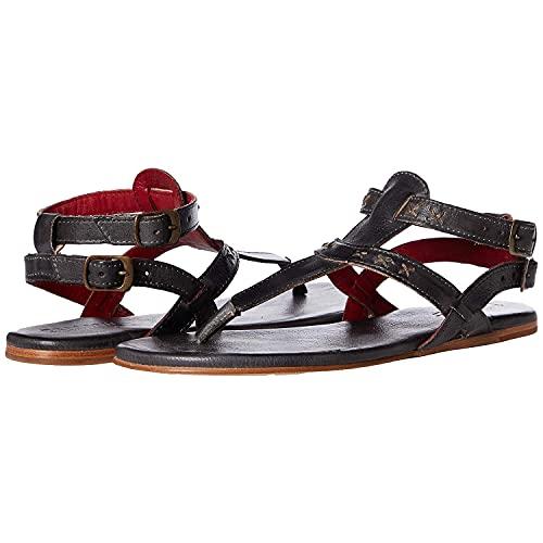 Bed|Stu Moon Womens Leather Sandal, Black Rustic, Size 8.5