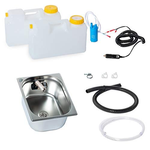 Wasseranlage Imbisswagen Verkaufsanhänger Campingküche 12v Bausatz Spüle 325x265x150 Integrierten Wasserhahn Barwig Raumsparkanister (ad-ideen)
