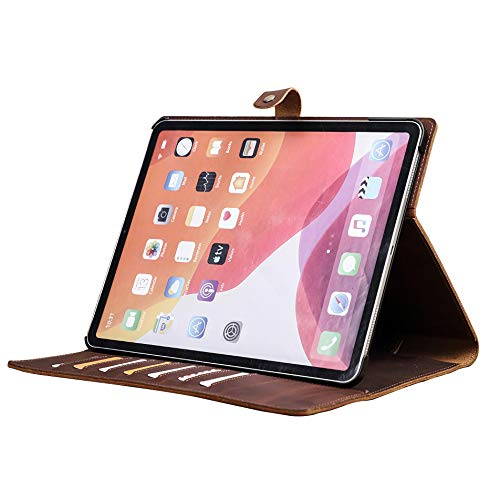 Leather Case for Ipad Pro 12.9 2020, Hard Back Crazy Horse Genuine Leather Case Padfolio with Business Card Holder, Pencil Holder, [Support Apple Pencil 2 Charging]