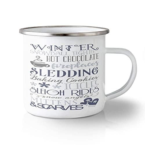 Onbreekbare Reizen Mok 11oz Winter Sneeuwbal Lichten Hot Chocolade Haarden Sledding Aluminium Thee Cup Ontwerp Alleen