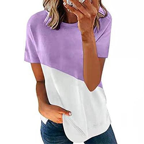 Camisa Mujer Manga Corta Cuello Redondo Básico Empalme De Color Contraste Mujer Top Generoso Informal Clásico Temperamento Personalidad De Moda Elasticidad Verano Mujer Blusa C-Purple White 4XL