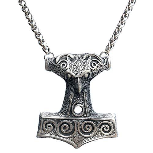 Celtic Norse Viking Jewelry Mjölnir Mjolnir Crow Raven Skane Swedish Thor's hammer Pewter Men's Pendant Necklace Travel Luck Warrior Fight Talisman Charm Protection Amulet men W Stainless Steel Chain