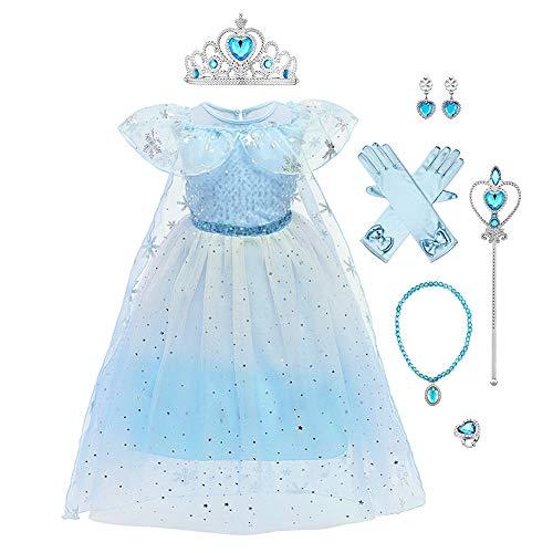 IWEMEK Disfraz de Elsa de Frozen para nias con accesorios para disfraz, cosplay, reina de hielo y nieve, disfraz para nios, Halloween, fiesta, Navidad, carnaval, trajes de 2 a 9 aos