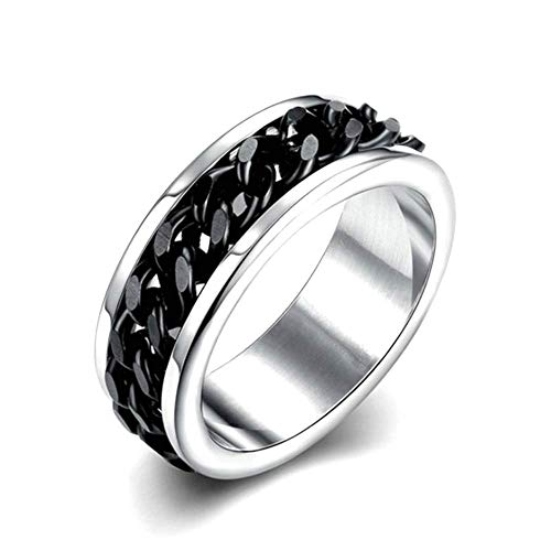 HSQYJ Men's Chain Spinner Rings Black Stainless Steel 8mm Refined Style Fidget Intertwine Rings Motorcycle Biker Bicycle Chain Ring Punk Rock Bands Male Boys Jewelry Gifts (12)