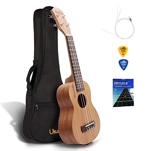 Qstyle Ukeleles For Beginners,21 Inch Soprano Ukeleles For Kids Ukulele Musical Instruments For Adults Ukele With Carrying Bag Pick Strap Spare Strings