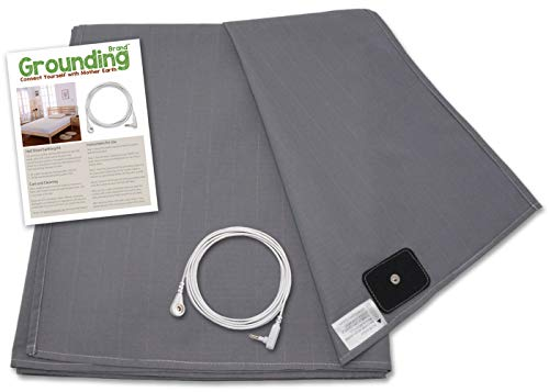 Grounding Brand Flat Queen Size Sheet with Earth Connection Cable, 400TC Conductive Mat with Pure Silver Thread for Better Sleep and Healthy Earth Energy, Rich Grey