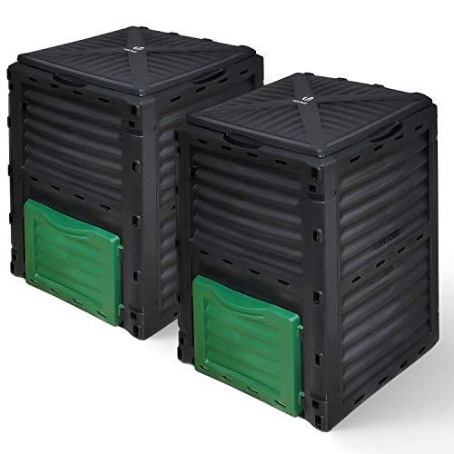 VOUNOT 2er-Set Komposter aus Kunststoff für Garten, 300L Thermokomposter Wetterfest, Schwarz