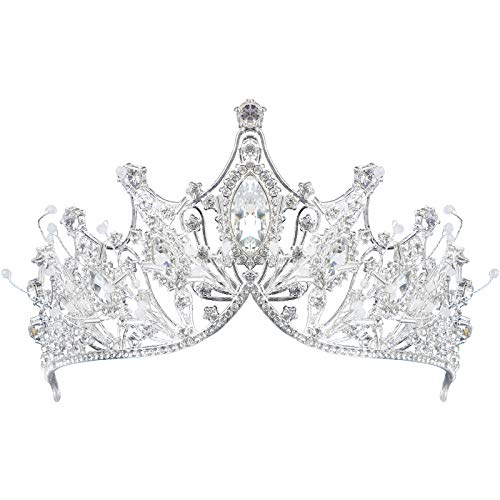 Lurrose Gran Corona de Reina de Cristal, Tiara de Plata Corona Nupcial...