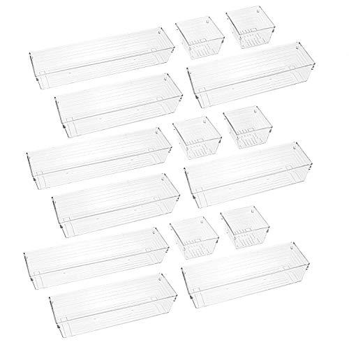 Lawei 15 Stück Getrennt Schublade Organizer Ordnungssystem Aufbewahrungsboxen Kunststoff Schubladeneinsatz für Küche Utensilien Schlafzimmer Make-up Vanities Schmuck Büro – 3 Größen