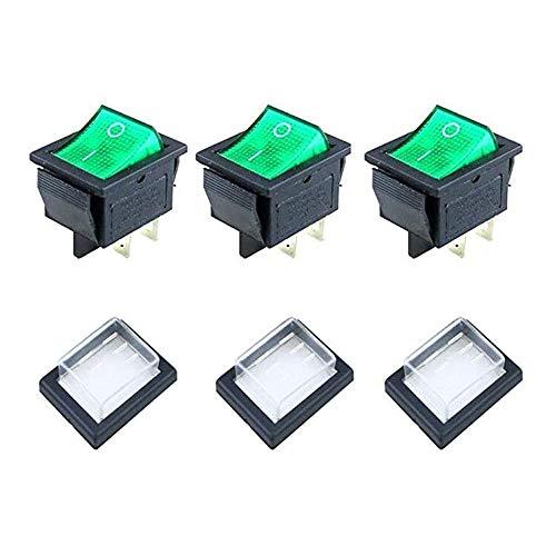 JINXM 3 Piezas Mini Interruptores Basculantes de Boton Impermeable Interruptor Basculante 4 Pines 2 Posiciones ON-OFF 16A/250V 20A/125V Interruptor Spst para Auto Vehiculo Barco Verde