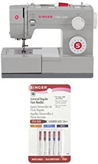 SINGER 4423 Heavy Duty Extra-High Sewing Speed Sewing Machine with Singer 10-Pack Regular Point Machine Needles