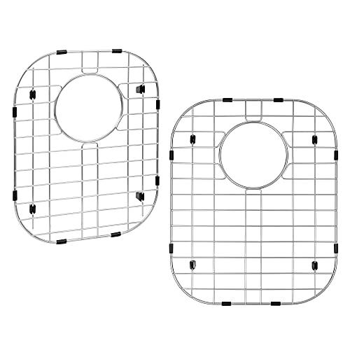 "LQS Kitchen Sink Grid, Sink Protectors for Kitchen Sink, Sink Protector 13"" x 16"" and Sink Grid 11 1/4"" x 14 1/2"" with Rear Drain for Single Sink Bowl, Kitchen Sink Grates(2 Pack)"