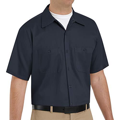 Red Kap Herren-Arbeitshemd, verbesserte Sichtbarkeit, Baumwolle, Herren, Men's Short Sleeve Wrinkle-Resistant Cotton WorkShirt, Dunkles Marineblau, X-Large