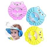 SNOWZAN 3 pezzi Cuffia da doccia per bambini regolabile cuffia per la doccia visiera morbida per la cura del bambino cappello regolabile per bambini, shampoo, cappellino rosa, giallo e blu