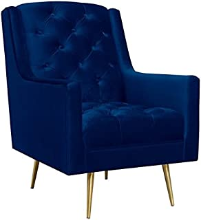 Picket House Furnishings Reese Button Tufted Accent Chair in Navy Blue