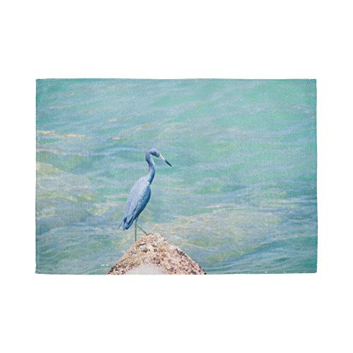 Set de 6 Sets de Table, Sets de Table lavables à Isolation Thermique, Grey Heron Bird Azure Blue Sea 18 X 12 Pouces Tapis de Table de Cuisine Set de Table pour Table à Manger