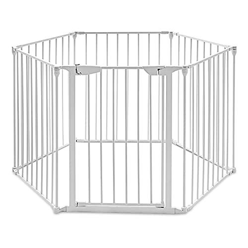 RELAX4LIFE Recinto di Ferro Robusto con 6 Pezzi, Recinzione Rimovibile e Pieghevole per Bambini, Cani e Animali Domestici, Cancello con Blocco di Sicurezza, 380 x 74,5 cm (Bianco)
