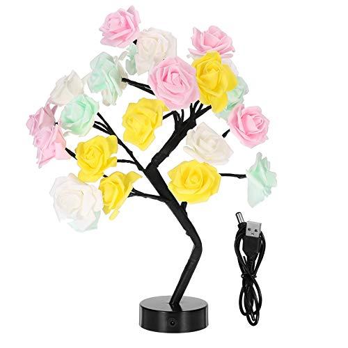AOWU Lámpara de mesa LED con diseño de rosas, árbol de flores, luces nocturnas USB, tamaño 45 cm, color: colorido)