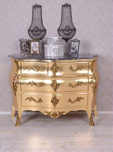 PALAZZO INT Barocke Kommode Gold Rokoko Schrank Barockkommode Antik Stil