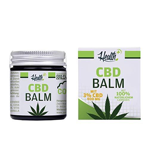HEALTH+ CBD BALM mit 3{55d722d31f4de048c45c959234f63485e0c2a682000a7e045b51192cb889a77a} CBD - 30 ml, Hanf-Salbe mit kaltgepresstem Cannabissamenöl, hochwertiges und rein natürliches Haut-Balsam