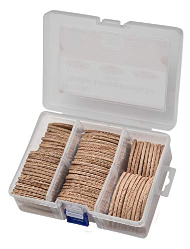 Brackit Jointing Biscuits Set; Beech Wood; 150 Pieces; Size 0,10,20 – Make Perfectly Aligned Wooden Furniture/Workpiece.