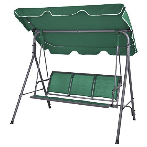 BB Sport 3-Sitzer Hollywoodschaukel mit abnehmbarem und neigbarem Sonnendach Gartenschaukel für 3 Personen belastbar bis 250 kg, Farbe:Galapagosgrün