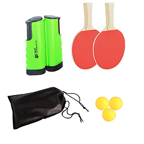 FOOING Juego de Red de Tenis de Mesa, 3 Pelotas de Ping...