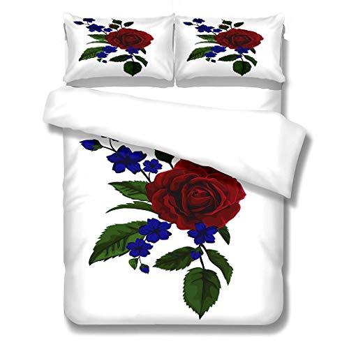 N/S Bettbezug Mikrofaser Bettwäsche (220x240) cm + Kissenbezug (48X75) cmx2 - Superweiches Bettbezug Set,mit Reißverschluss,rote Rose