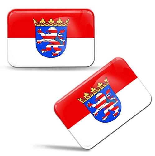 Biomar Labs® 2 x 3D Domed Siliconen Stickers Decals Hessen Duitsland Staatsvlag Auto Motorhelm F 96