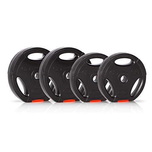 Ultrasport Discos de pesas, juego de 4 pesas, 2 de 2.5 kg, 2 de 5 kg, agujero estándar de 30 mm, aptos para barras cortas y largas, con asas para entrenamiento con peso libre, Negro