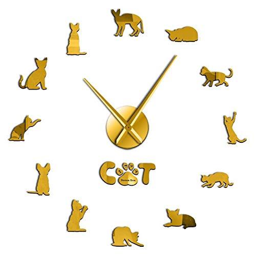 Leeypltm Reloj de Pared Retro Grande,Amo mi Gato Devon Rex 47 Pulgadas Dorado DIY Reloj de Pared sin Marco Espejo Grande 3D Sticker para Decorar La Oficina o Casa