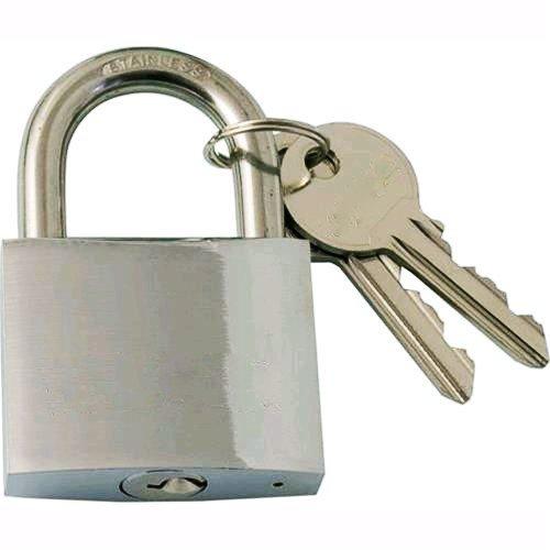 takestop® hangslot met boog 40 mm gebogen Nautico 2 sleutels Marino zee sluiting roestvrij staal