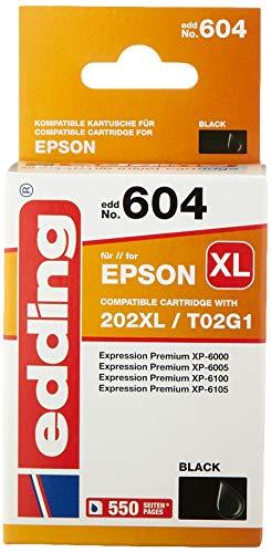 edding Cartucho de Tinta edd-604 sustituye a Epson 202XL (T02G1), Color Negro, Contenido: 20 ml