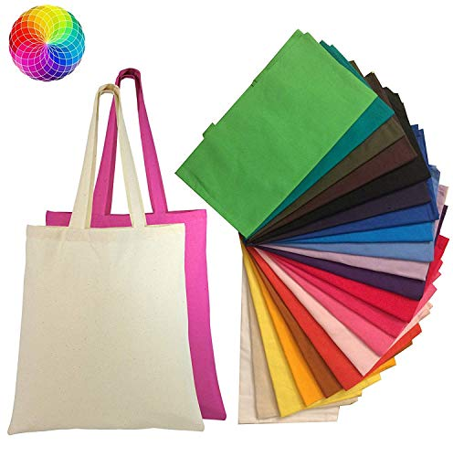 Set of 24 Blank Cotton Tote Bags Reusable 100% Cotton Reusable Tote Bags (2 dozen)