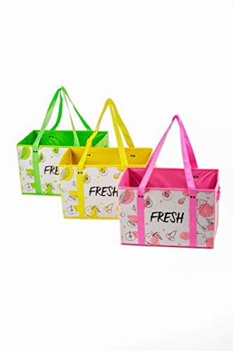 Heavy Duty Reusable Grocery Foldable Shopping Box Bags (3 Pack). Large, Premium Quality Tote Bag Set with Extra Long Handles & Reinforced Bottom. Eco Friendly, Collapsible, Durable (Yellow/Green/Pink)