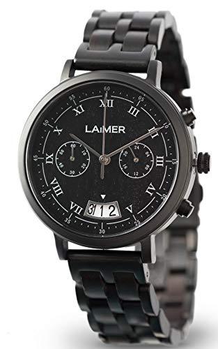 LAiMER 0079 - LUCIO, Orologio analogico da polso al quarzo, cronografo, con cinturino in legno Sandalo e acciaio premium, uomo